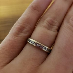 White gold band with small diamonds